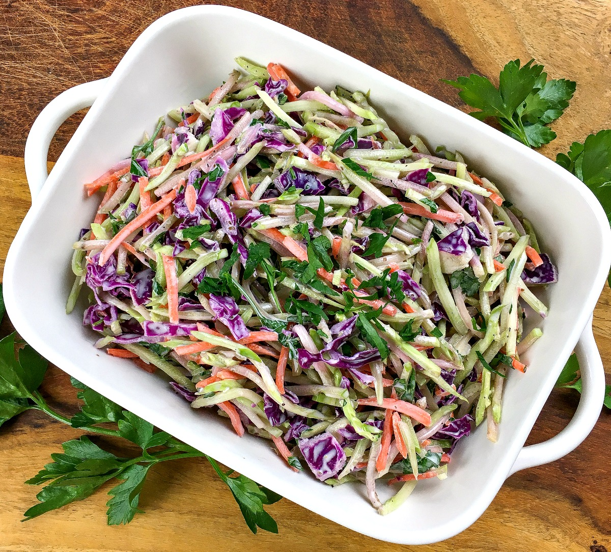 Do you want a quick low carb recipe that won't heat up your house? Our Crunchy Broccoli Slaw is super easy to make in about 5 minutes and is keto diet friendly.