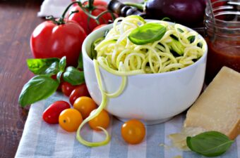 Do you miss pasta on the keto diet? Learn how to swap spiral cut vegetables for pasta. They're so versatile!
